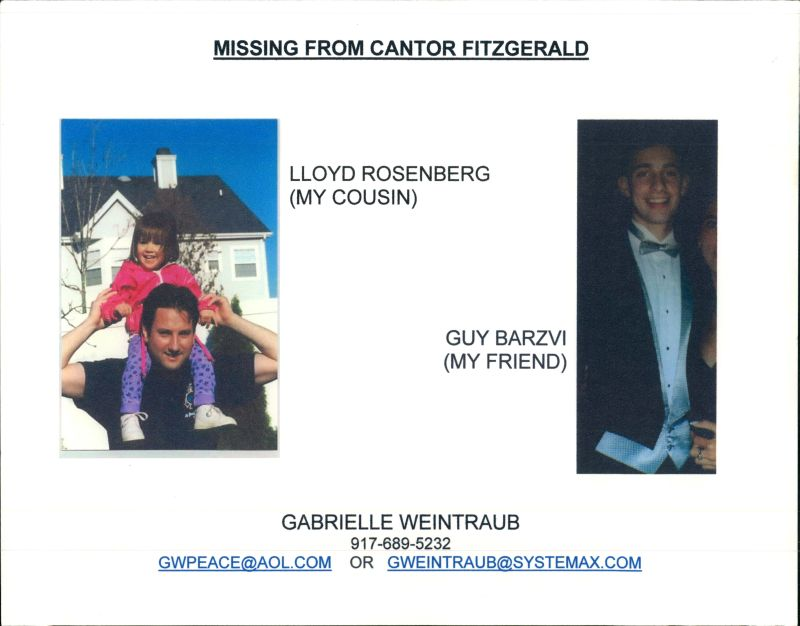9/11 Living Memorial Digital Archive Lloyd Rosenberg and Guy - missing person posters