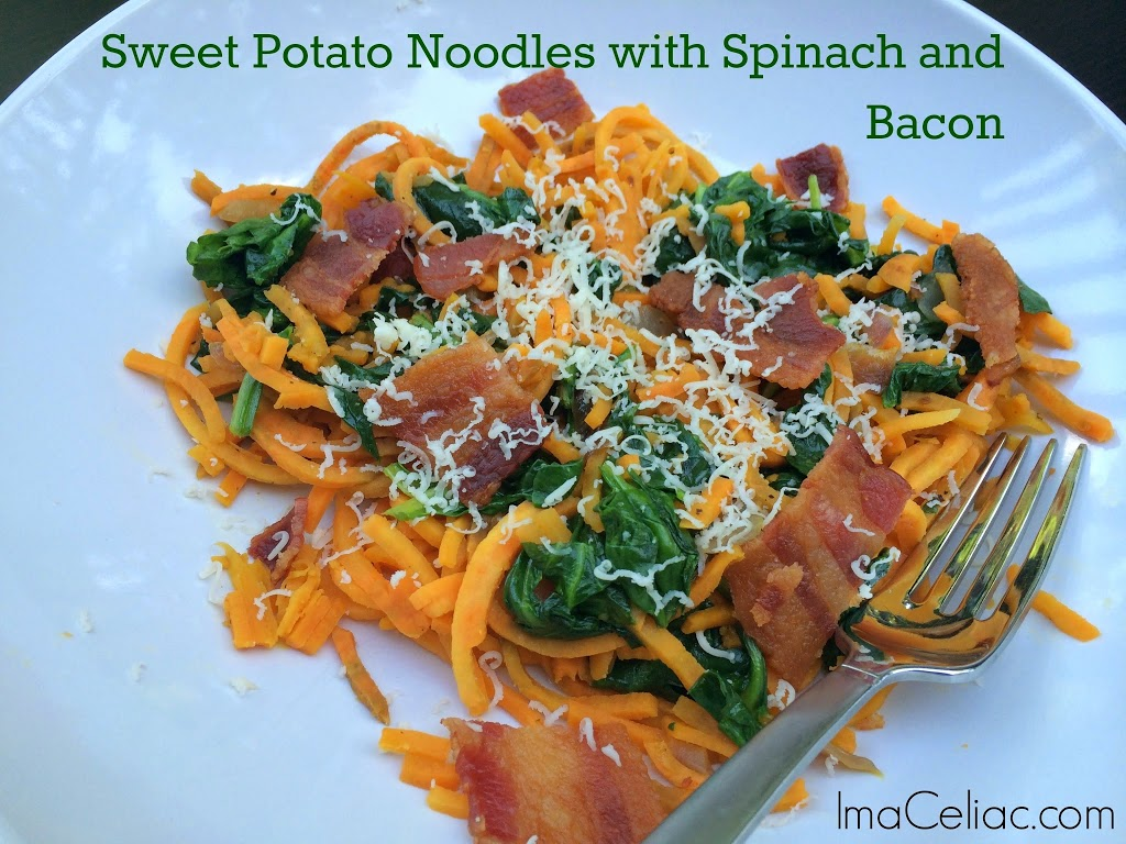 Sweet Potato Noodles with Spinach and Bacon