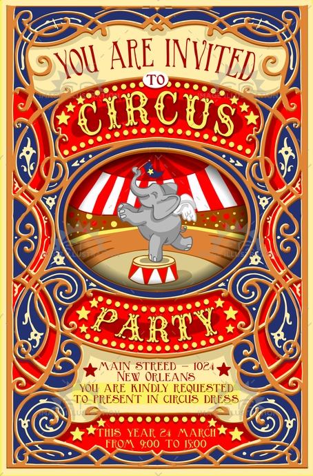 Circus Party Invitation Vintage - Image Illustration - Circus Party Invitation