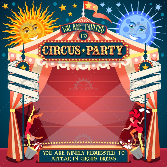 Circus 02 Invitation Vintage 2D - Image Illustration - circus party invitation