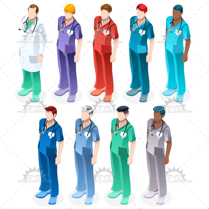 Nurse Healthcare Vector Medic People Isometric Man Set - Image