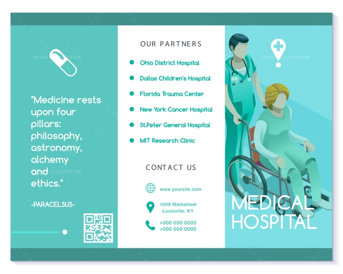 Vector Brochure Healthcare Turquoise Medical Clinic Template - Image - healthcare brochure