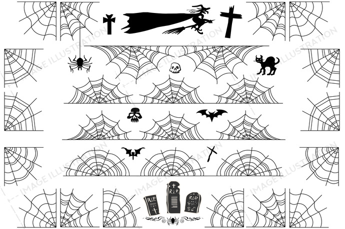 Halloween Spiderweb Vector Borders and Corners Frame - Image Illustration