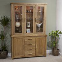 Eton solid oak furniture large glazed dresser display ...