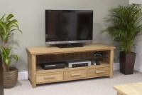 Eton solid oak living room furniture widescreen TV cabinet ...