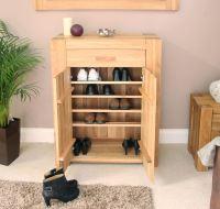 Palma solid chunky oak hallway furniture shoe storage ...
