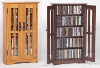 Glass Door Wall Mount Cabinet Rack 190 CD 78 DVD NEW