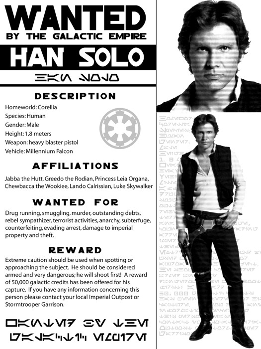 Han Solo Wanted Gigantic Print POSTER Outlaw Star Wars Criminal - criminal wanted poster