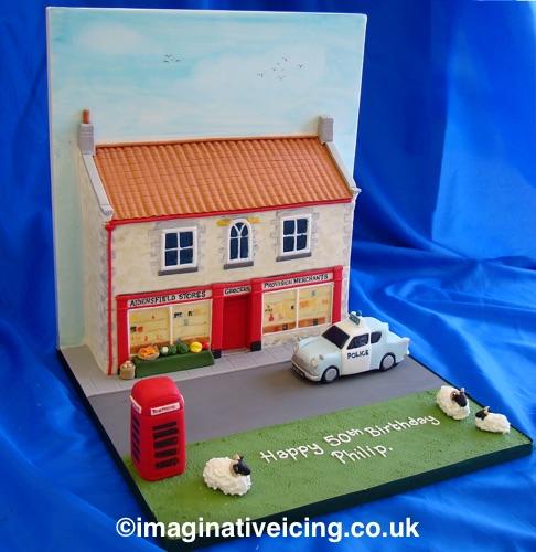 3d yorkshire village store heartbeat birthday cake