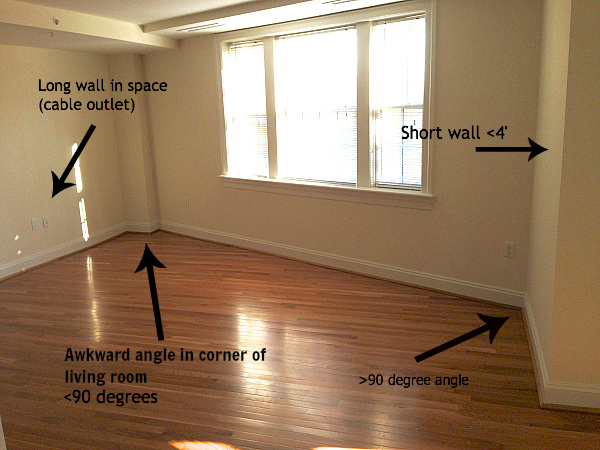 Making an awkward shaped living room work i 39 m bored let for Kitchen designs for odd shaped rooms