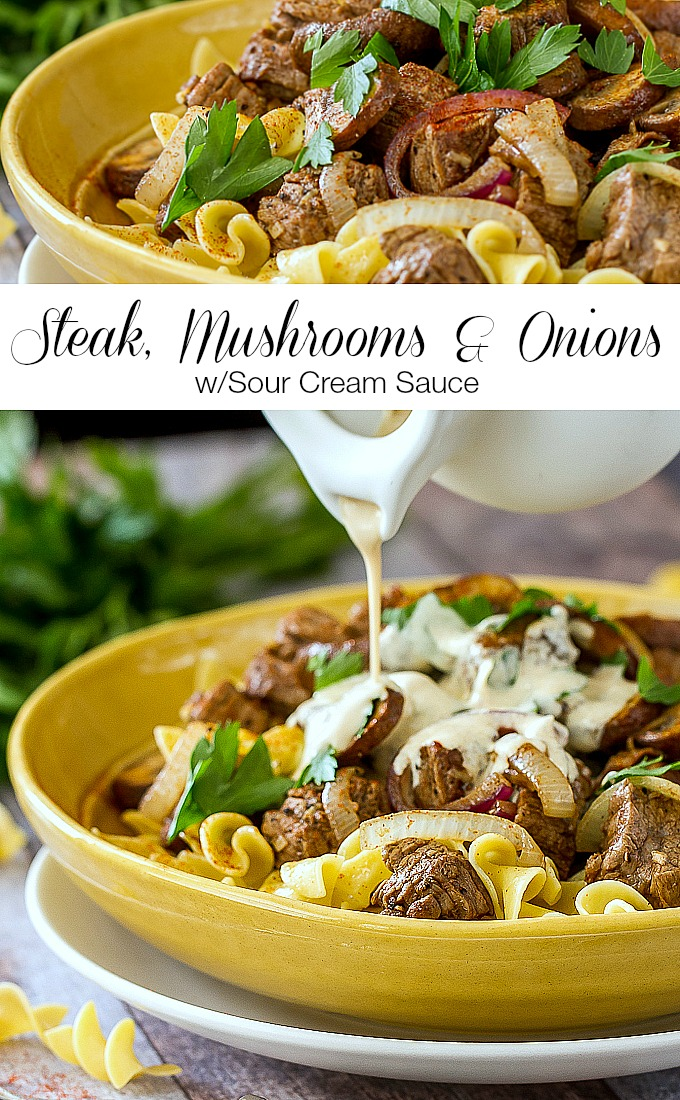 Steak Mushrooms  Onions with Sour Cream SauceIm Bored, Lets