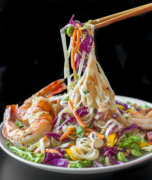 Ginger Miso Slaw with Edamame, Rice Noodles & Shrimp - I'm Bored, Let...