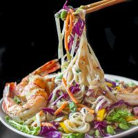 Miso Ginger Slaw with Edamame, Rice Noodles and Shrimp