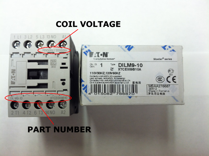 XTCE009B10 Eaton contactor rated at 9 AMPS with an AC or DC coil