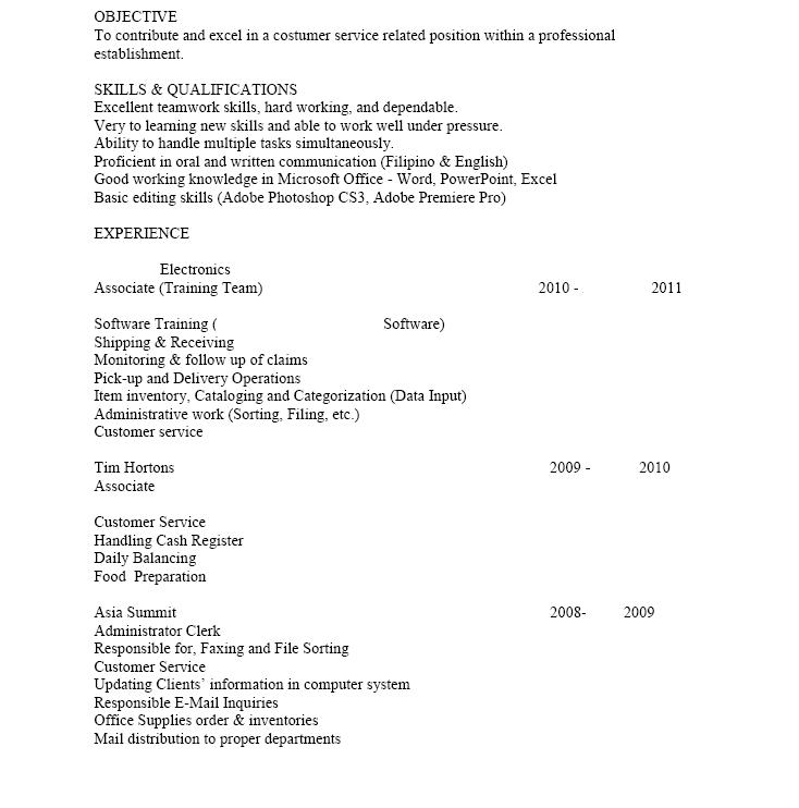 eca resume sample canada