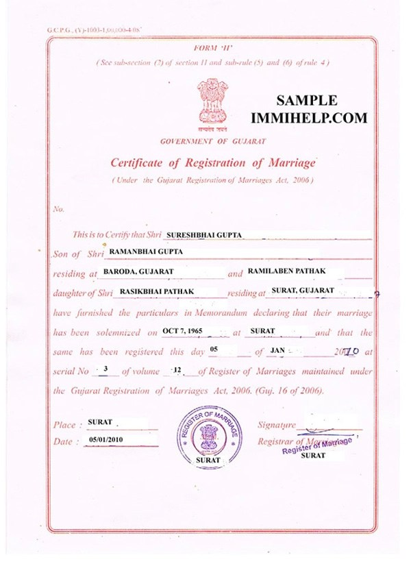 Sample Marriage Registration Certificate from India in Englishu003c - marriage certificate