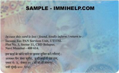 Sample PAN Card - Permnanent Account Number - India
