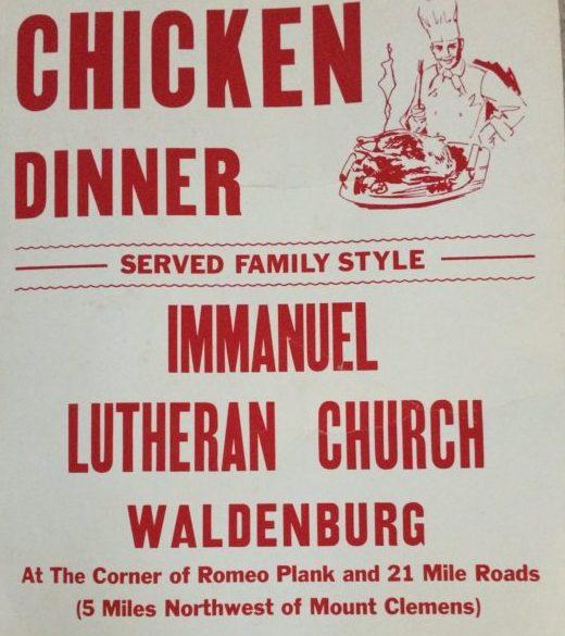 chicken dinner flyer Immanuel Lutheran Church  School