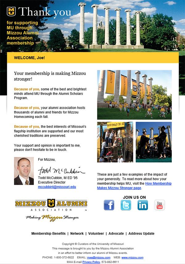 iModules - Membership Emails Mizzou Alumni Association - personalized e mail