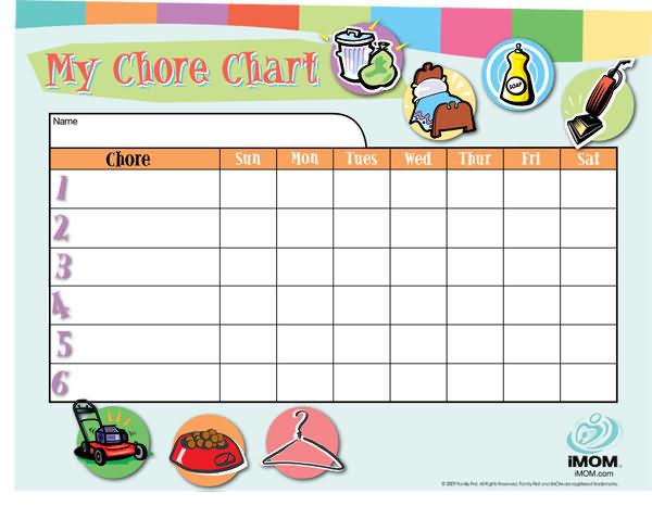 Customizable Chore Chart - iMom