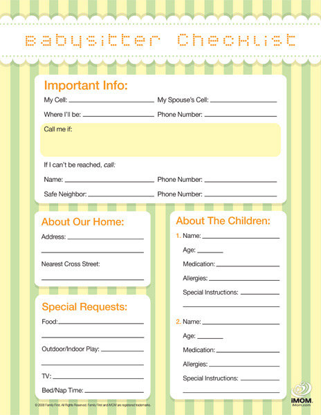 Babysitter Checklist - iMom - babysitting information sheets