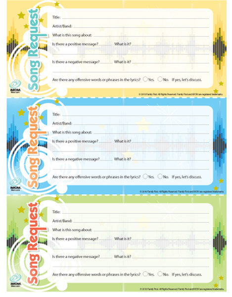 Song Request Form for Kids - iMom - request form