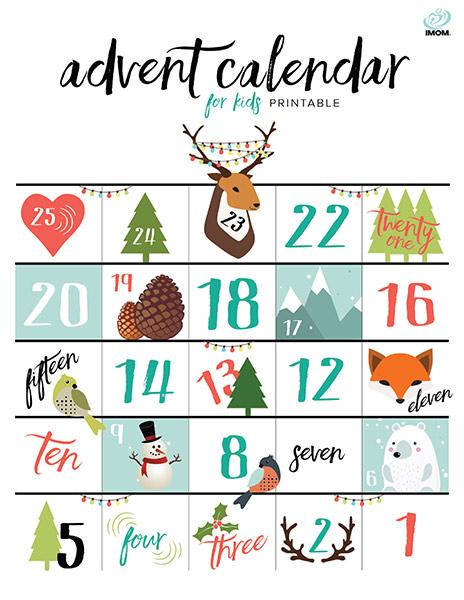Printable Advent Calendar for Kids - iMom - kids calendar template