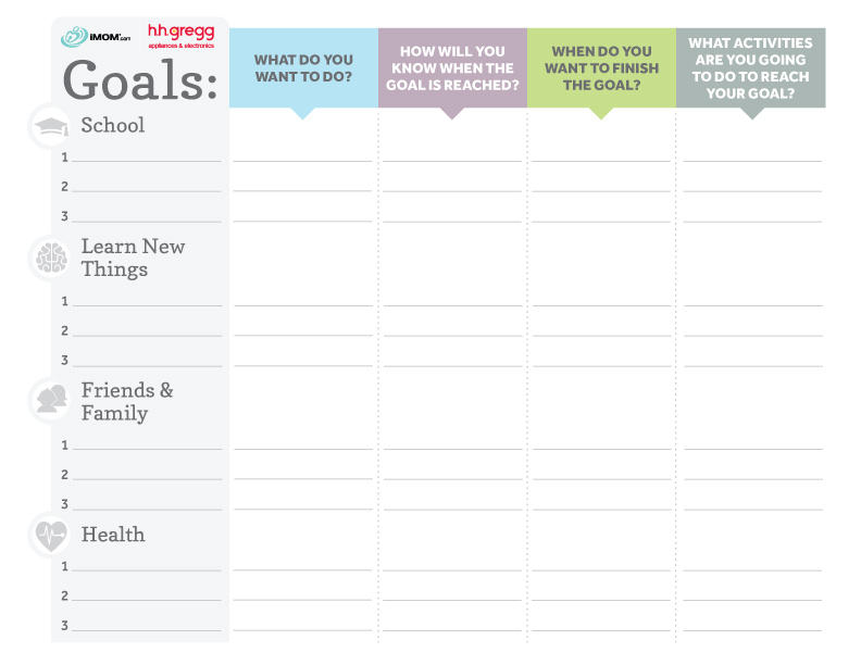 Brilliant Goals Chart for Kids - iMom - kids chart