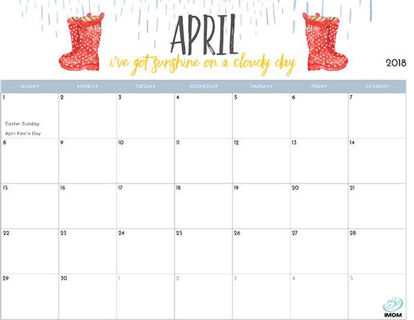 2018 Printable Calendar for Moms - iMom