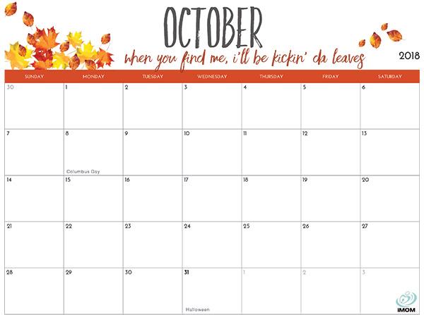 2018 Printable Calendar for Moms - iMom - printable calendar