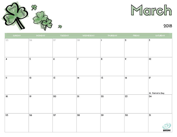 2018 Free Printable Calendar for Kids - iMom - free calendar printable