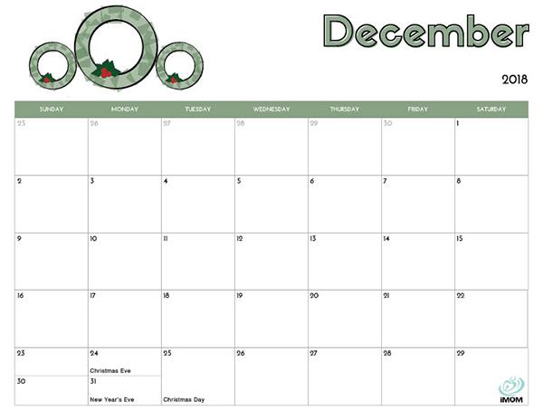 2018 Free Printable Calendar for Kids - iMom