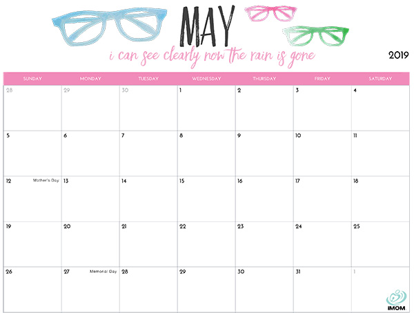 2019 Printable Calendar for Moms - iMom