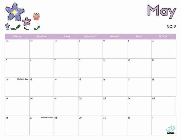 2019 Free Printable Calendar for Kids - iMom