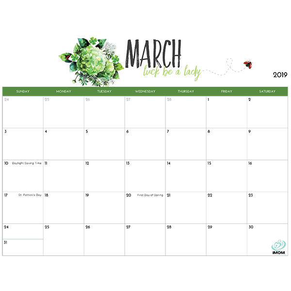 2019 Printable Calendar for Moms - iMom