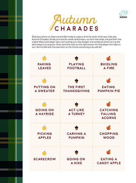 Autumn Charades Game - iMom