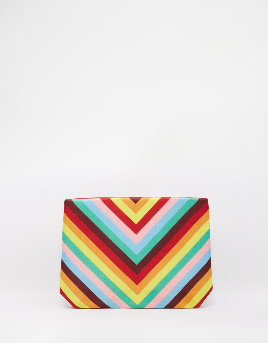 asos - Moyna Clutch Bag in Rainbow Chevron Print 28