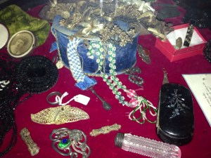 Beaded necklaces, hair combs and hair clips