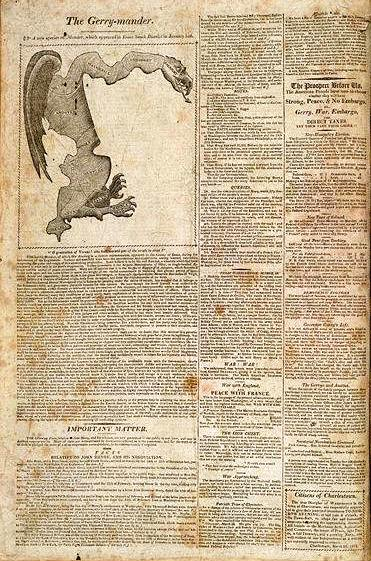 """The Gerry-mander"" dans le Boston Gazette (26 mars 1812)"