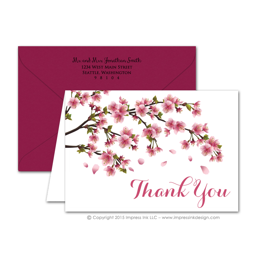 Cherry Blossoms Thank You Cards \u2013 Impress Ink \u2013 Stationery Design Studio