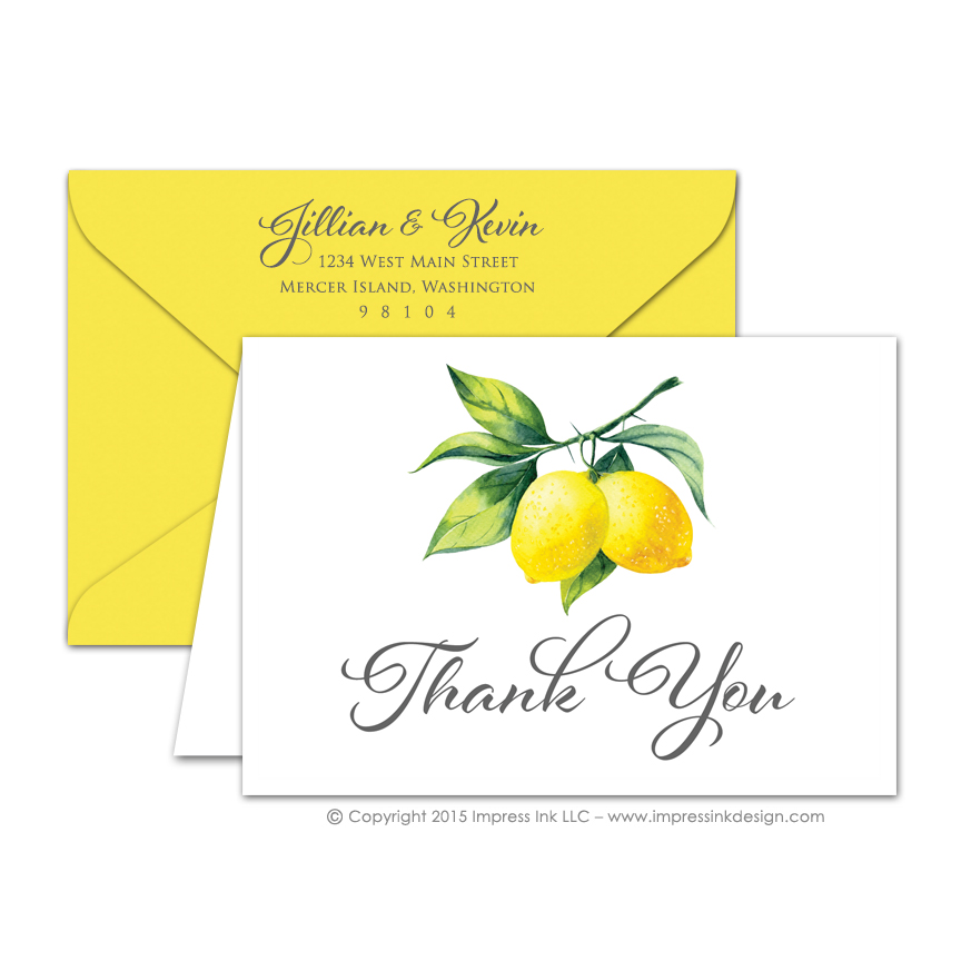 Watercolor Lemon Thank You Cards \u2013 Impress Ink \u2013 Stationery Design