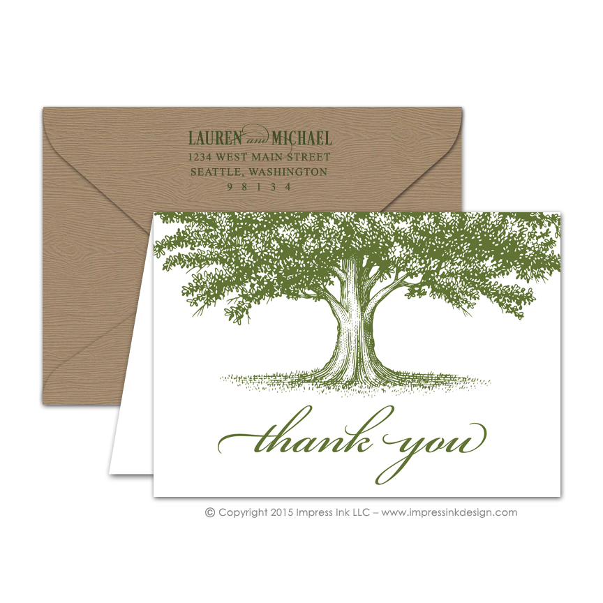 Oak Tree Thank You Cards \u2013 Impress Ink \u2013 Stationery Design Studio