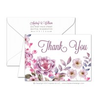 Watercolor Flowers Thank You Cards  Impress Ink ...