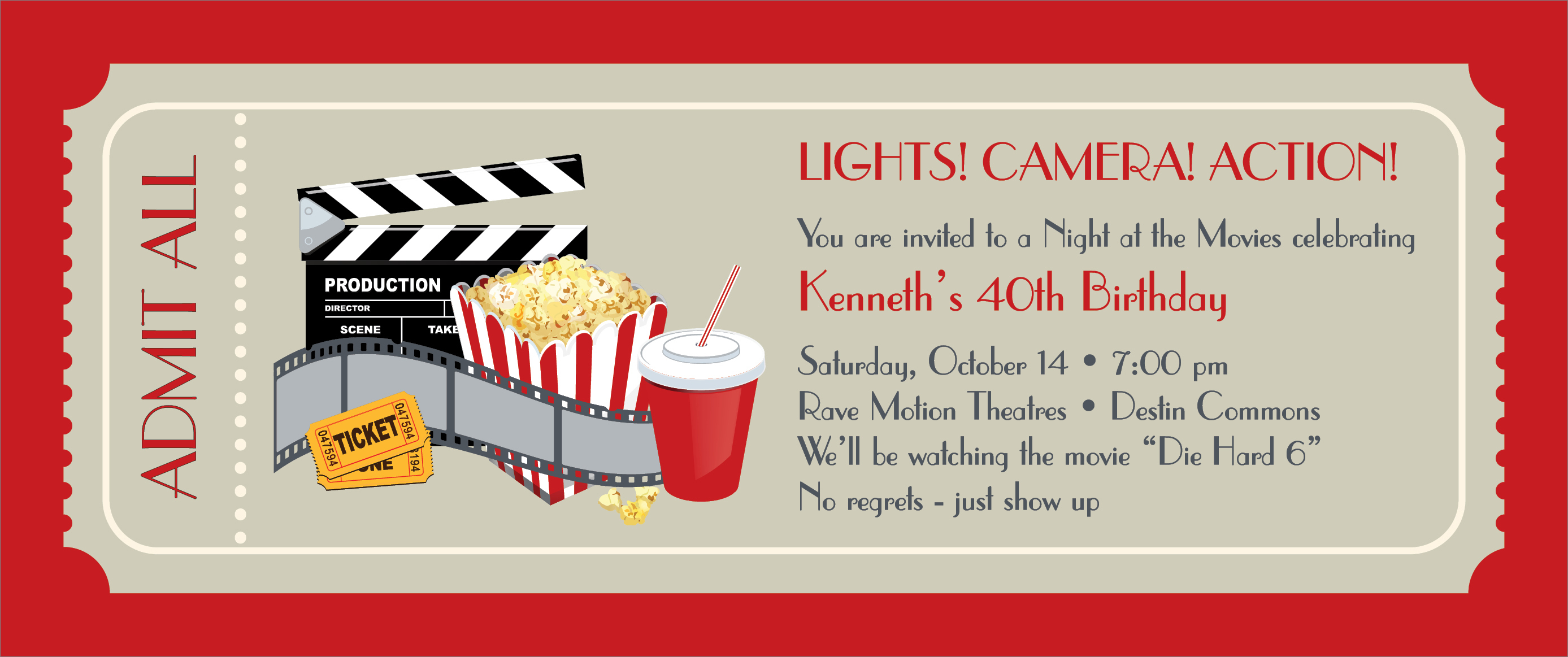 Doc550486 Movie Ticket Invitation Template Free Printable – Party Ticket Template Free