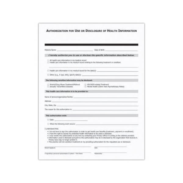Blank - Patient authorization form designed to meet HIPAA - hipaa form