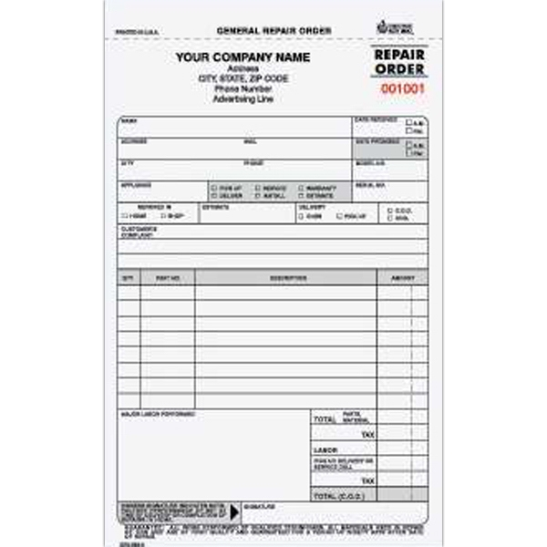 General Repair Order Form - Item #GROCC-563-3 - ImprintItems - repair order form