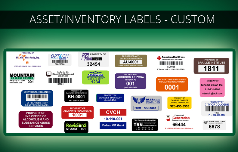 Custom Fixed Asset Labels, Inventory Labels, Stickers  Tags Imprints