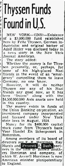 George W. Bush's grandfather, Prescott Bush, was arrested for funding both sides of World War II