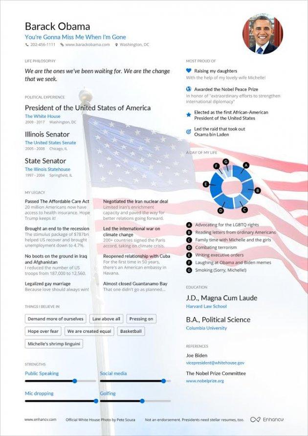 Check Out the Resume a Startup Built for Former President Obama - barack obama resume