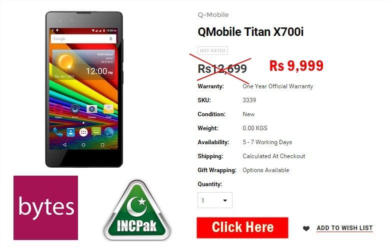 QMobile Titan x700i dhamaka discount